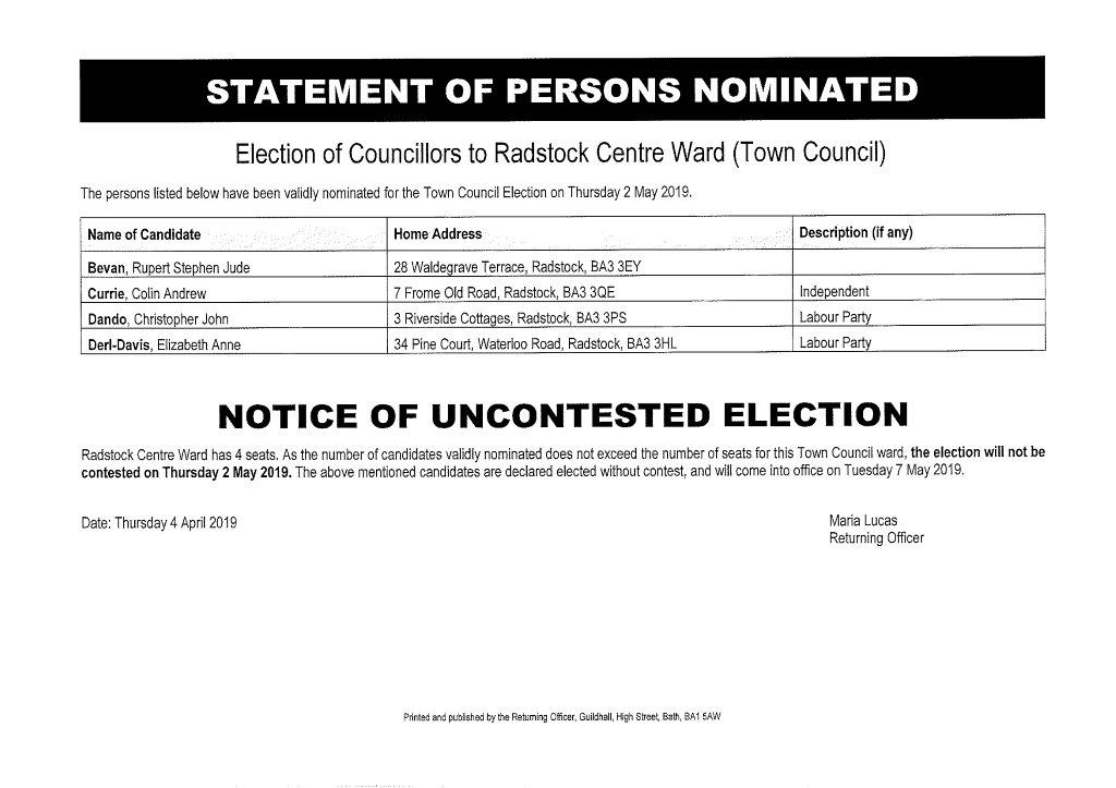 Statement of Persons Nominated Central Ward