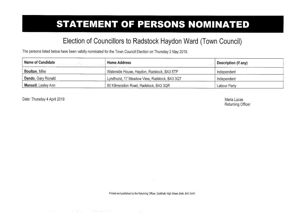 Statement of Persons Nominated Haydon Ward