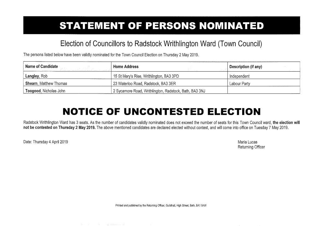 Statement of Persons Nominated Writhlington Ward